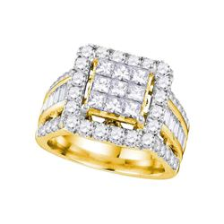 3 CTW Princess Diamond Cluster Bridal Engagement Ring 14KT Yellow Gold - REF-299Y9X