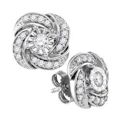0.32 CTW Diamond Pinwheel Stud Earrings 10KT White Gold - REF-38Y9X