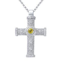 1.49 CTW Yellow Sapphire & Diamond Necklace 14K White Gold - REF-84M7F