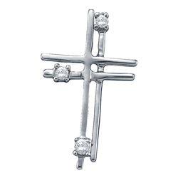 0.04 CTW Diamond Layered Cross Pendant 14KT White Gold - REF-8H9M