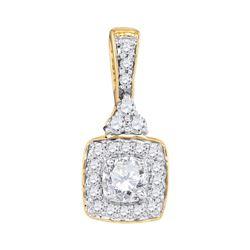 0.50 CTW Diamond Solitaire Square Pendant 10KT Yellow Gold - REF-52X4Y
