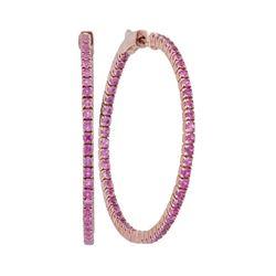 2.88 CTW Pink Sapphire In/Out Hoop Earrings 14KT Rose Gold - REF-94F4N