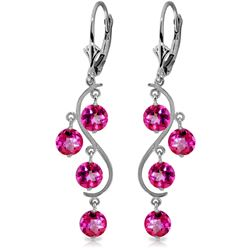 Genuine 4.95 ctw Pink Topaz Earrings Jewelry 14KT White Gold - REF-55P2H