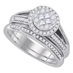 0.62 CTW Princess Diamond Soleil Bridal Engagement Ring 14KT White Gold - REF-104W9K