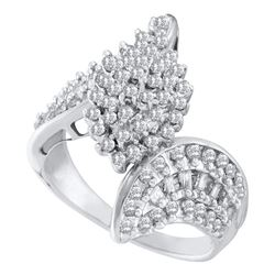 1.02 CTW Prong-set Diamond Oval Cluster Bypass Ring 10KT White Gold - REF-50N9F