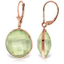Genuine 36 ctw Green Amethyst Earrings Jewelry 14KT Rose Gold - REF-80Z4N