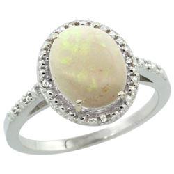 Natural 1.43 ctw Opal & Diamond Engagement Ring 14K White Gold - REF-34V3F