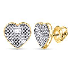 0.50 CTW Diamond Heart Love Cluster Earrings 10KT Yellow Gold - REF-37K5W