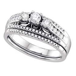 0.50 CTW 3-stone Diamond Wedding Bridal Engagement Ring 14k White Gold - REF-82N4F