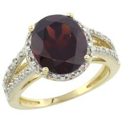 Natural 3.47 ctw Garnet & Diamond Engagement Ring 10K Yellow Gold - REF-38N8G