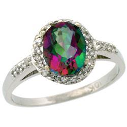 Natural 1.3 ctw Mystic-topaz & Diamond Engagement Ring 14K White Gold - REF-32F2N