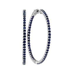 3.75 CTW Blue Sapphire Hoop Earrings 14KT White Gold - REF-119N9F