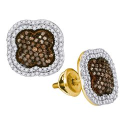 0.75 CTW Brown Color Diamond Cluster Earrings 10KT Yellow Gold - REF-44N9F