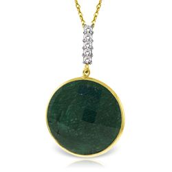 Genuine 23.08 ctw Green Sapphire Corundum & Diamond Necklace Jewelry 14KT Yellow Gold - REF-51F4Z