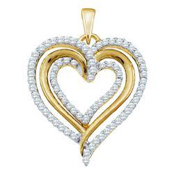 0.38 CTW Diamond Heart Love Pendant 10KT Yellow Gold - REF-34F4N