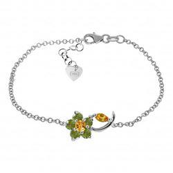 Genuine 0.87 ctw Citrine & Peridot Bracelet Jewelry 14KT White Gold - REF-50Z5N