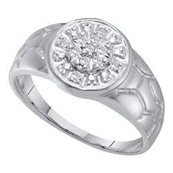 0.12 CTW Mens Diamond Cluster Nugget Ring 14KT White Gold - REF-18X2Y