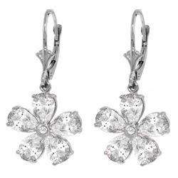 Genuine 4.43 ctw White Topaz & Diamond Earrings Jewelry 14KT White Gold - REF-49X8M