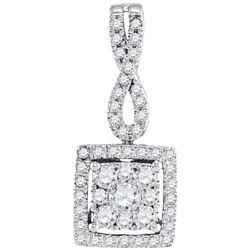 0.50 CTW Diamond Square Cluster Pendant 10KT White Gold - REF-40Y4X