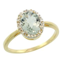 Natural 1.22 ctw Green-amethyst & Diamond Engagement Ring 10K Yellow Gold - REF-20X3A