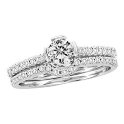 0.76 CTW Diamond Bridal Wedding Engagement Ring 14KT White Gold - REF-139W5K