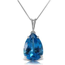 Genuine 6.5 ctw Blue Topaz Necklace Jewelry 14KT White Gold - REF-31N6R