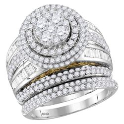 2.46 CTW Diamond Cluster Bridal Engagement Ring 14KT Two-tone Gold - REF-251K9W