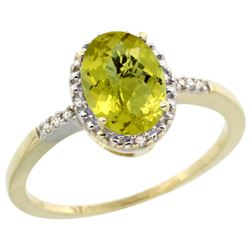 Natural 1.2 ctw Lemon-quartz & Diamond Engagement Ring 10K Yellow Gold - REF-16H7W