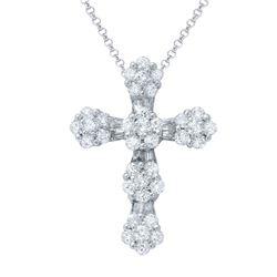 0.99 CTW Diamond Necklace 18K White Gold - REF-107H6M