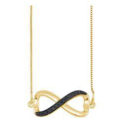 0.10 CTW Black Color Diamond Infinity Love Anniversary Pendant 10KT Yellow Gold - REF-13X4Y