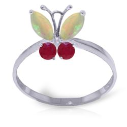 Genuine 0.70 ctw Opal & Ruby Ring Jewelry 14KT White Gold - REF-30Z5N