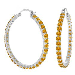 Genuine 6 ctw Citrine Earrings Jewelry 14KT White Gold - REF-104V8W
