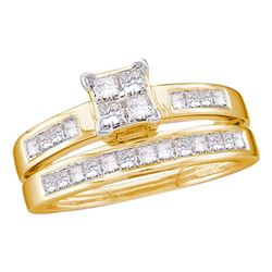 1 CTW Princess Diamond Bridal Engagement Ring 14KT Yellow Gold - REF-89M9H