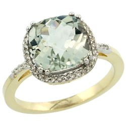 Natural 4.11 ctw Green-amethyst & Diamond Engagement Ring 14K Yellow Gold - REF-44Y2X