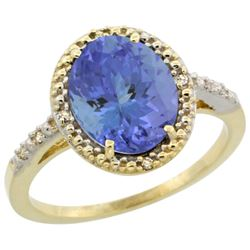 Natural 2.41 ctw Tanzanite & Diamond Engagement Ring 10K Yellow Gold - REF-71M6H