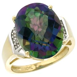 Natural 11.02 ctw Mystic-topaz & Diamond Engagement Ring 10K Yellow Gold - REF-50G9M