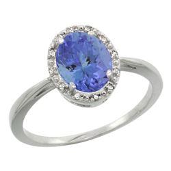Natural 1.35 ctw Tanzanite & Diamond Engagement Ring 10K White Gold - REF-42Z9Y