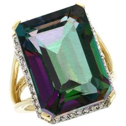 Natural 15.06 ctw Mystic-topaz & Diamond Engagement Ring 14K Yellow Gold - REF-81M9H