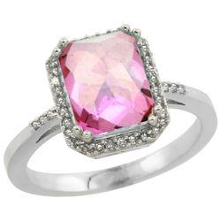 Natural 2.63 ctw Pink-topaz & Diamond Engagement Ring 14K White Gold - REF-42V8F