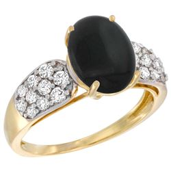 Natural 1.9 ctw onyx & Diamond Engagement Ring 14K Yellow Gold - REF-56F2N