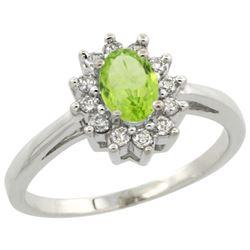 Natural 0.67 ctw Peridot & Diamond Engagement Ring 14K White Gold - REF-48G6M
