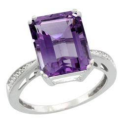Natural 5.42 ctw amethyst & Diamond Engagement Ring 14K White Gold - REF-61H9W