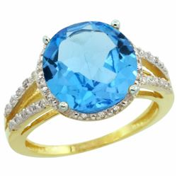Natural 5.34 ctw Swiss-blue-topaz & Diamond Engagement Ring 14K Yellow Gold - REF-45M5H