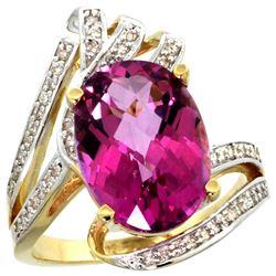 Natural 5.76 ctw pink-topaz & Diamond Engagement Ring 14K Yellow Gold - REF-92G7M