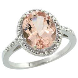 Natural 2.92 ctw Morganite & Diamond Engagement Ring 10K White Gold - REF-49G8M