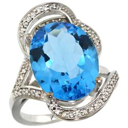 Natural 11.23 ctw swiss-blue-topaz & Diamond Engagement Ring 14K White Gold - REF-104A5V