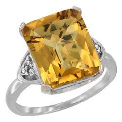 Natural 5.44 ctw whisky-quartz & Diamond Engagement Ring 14K White Gold - REF-43F9N