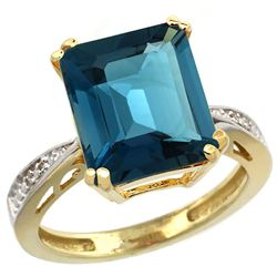 Natural 5.42 ctw London-blue-topaz & Diamond Engagement Ring 14K Yellow Gold - REF-63M6H