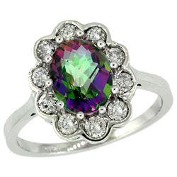 Natural 2.34 ctw Mystic-topaz & Diamond Engagement Ring 14K White Gold - REF-81N4G