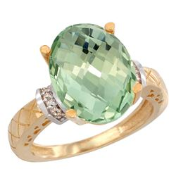Natural 5.53 ctw Green-amethyst & Diamond Engagement Ring 14K Yellow Gold - REF-60X3A